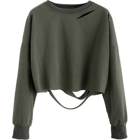 Dark Green Drop Shoulder Cut Out Crop T-shirt