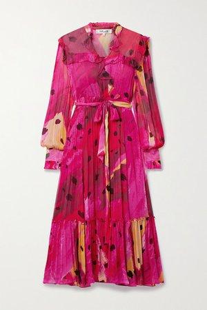 Meredith Wrap-effect Ruffled Printed Chiffon Dress - Pink
