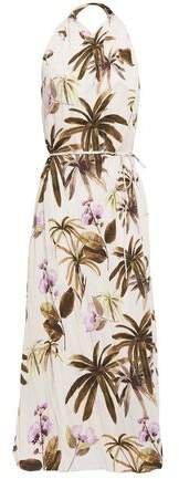 Belted Floral-print Plisse-crepe Midi Dress