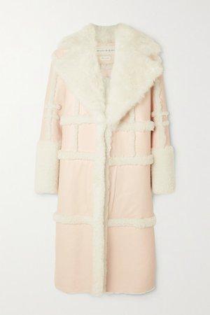 Paneled Shearling Coat - Pink