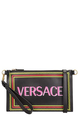 Versace Black Leather Clutch Bag