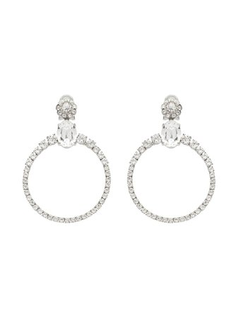 Silver Miu Miu Crystal Circle Earrings | Farfetch.com