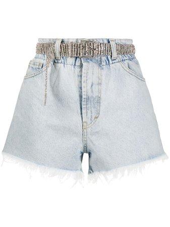 Ainea jewelled-belt Denim Shorts - Farfetch