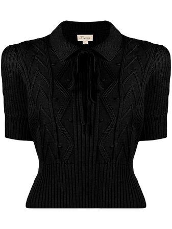 Temperley London, ribbed knit polo shirt