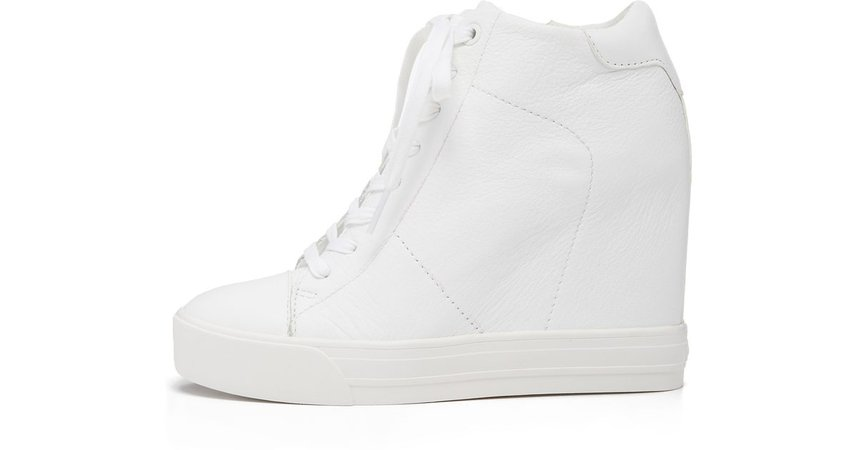 white lace up heeled wedge sneakers