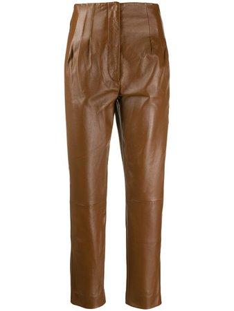 Alberta Ferretti High Waisted Leather Trousers - Farfetch