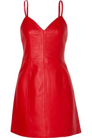 ALEXACHUNG | Leather mini dress | NET-A-PORTER.COM