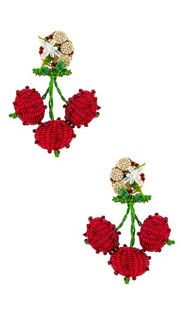 Mercedes Salazar Cherry Dangle Earring in Red | REVOLVE