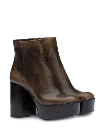 Miu Miu Distressed Platform Ankle Boots - Farfetch
