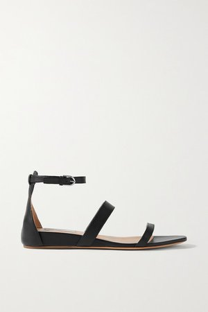 Lekker Leather Wedge Sandals - Black