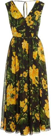 Carolina Herrera V-Neck Floral Midi Dress