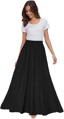 Sinono Womens Chiffon Retro Maxi Skirt Vintage Ankle-Length Skirts (X-Large, Black) at Amazon Women's Clothing store