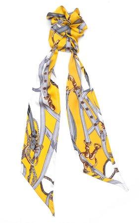 Yellow Satin Print Scarf Scrunchie