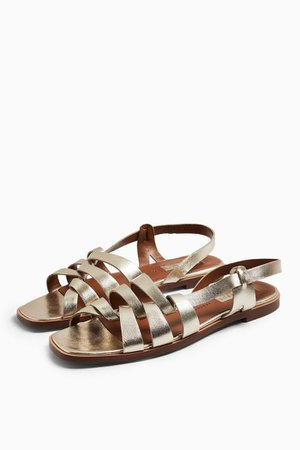 LOYAL Gold Leather Strap Flat Sandals | Topshop