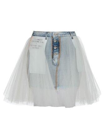 Ben Taverniti Unravel Project Cotton Jeans And Mash Skirt