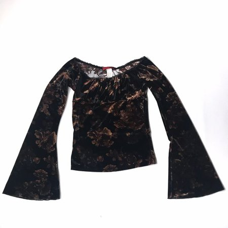 Vintage 90s fitted velvet top with bell sleeves and a Super - Depop