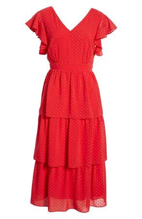 Julia Jordan Clip Dot Chiffon Midi Dress | Nordstrom