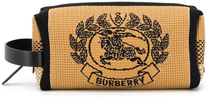 Archive Crest knitted pouch