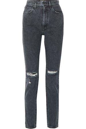 SLVRLAKE | Beatnik distressed high-rise slim-leg jeans | NET-A-PORTER.COM