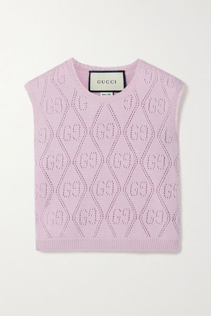 Chaleco de lana punto Pointelle Rosa | Gucci | NET-A-PORTER