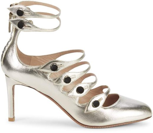 Metallic Leather Strappy Pumps