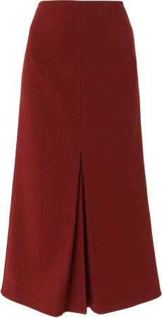 Box Pleated Flared Crepe Midi Skirt