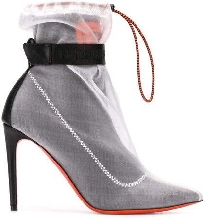 mesh high heel booties