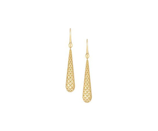 Gucci : Earrings in yellow gold 18 K with drop pendant and diamond pattern | Jewels - Rocca 1794
