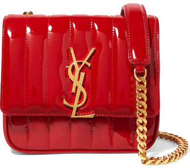 Vicky Small Quilted Patent-leather Shoulder Bag - Red