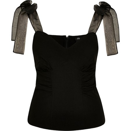 River Island black bow strap sweet heart neck cami top