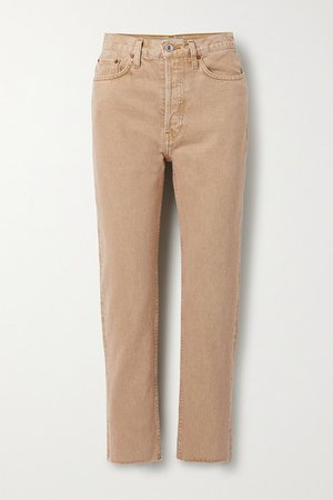 70s Originals Stove Pipe Cropped High-rise Straight-leg Jeans - Sand