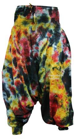 Hippie Colorful Tie dye Baggy Harem Trouser,Boho Brighter Loose Fit Hippy Pants   eBay