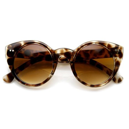 Womens Fashion Cat Eye Retro Circle Round Sunglasses - zeroUV