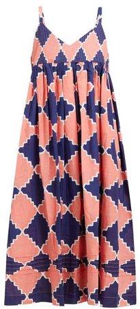 Mfg - Daisy Geometric Print Cotton Midi Dress - Womens - Blue Multi