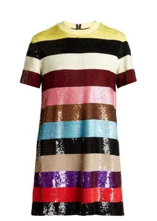 ASHISH  Striped Sequin-embellished Mini Dress $755