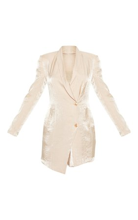 Champagne Pleated Shimmer Blazer Dress   Tops   PrettyLittleThing USA