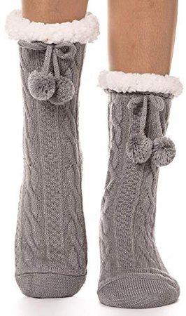 Womens Fuzzy Slipper Socks Warm Thick Knit Heavy Fleece lined Fluffy Christmas Stockings Winter Socks (Grey) at Amazon Women's Clothing store: