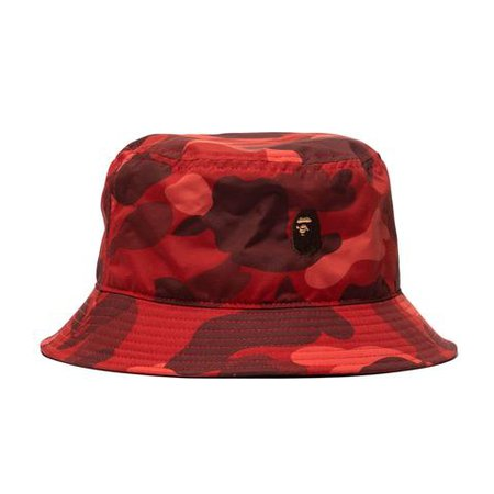Color Camo Ape Head One Point Bucket Hat Red – HAVEN
