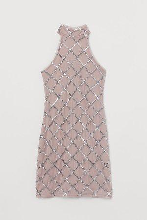 Short Sequined Dress - Brown