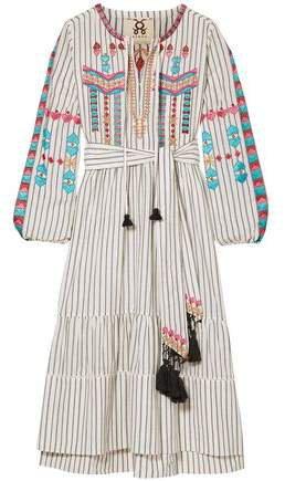 Noor Belted Embellished Pinstriped Cotton-voile Dress