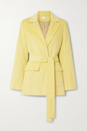 Pastel yellow Belted cotton-corduroy blazer | Victoria, Victoria Beckham | NET-A-PORTER