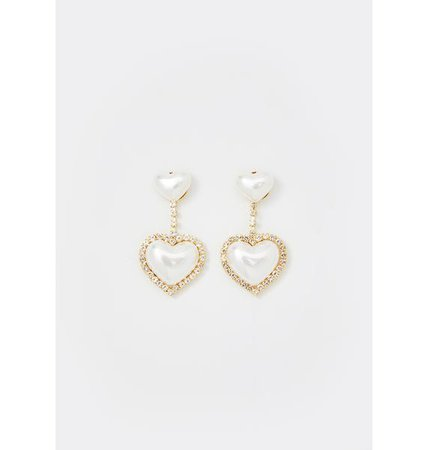 Rhinestone Heart Drop Earrings Pearl | Dolls Kill