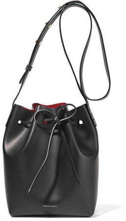 Mini Leather Bucket Bag - Black
