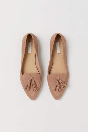 Suede Loafers - Beige
