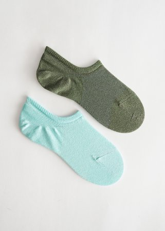 Low Cut Glitter Sock Set - Turquoise Khaki - Socks - & Other Stories