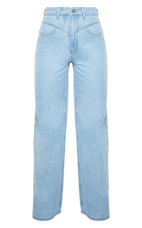 Light Blue Wash Acid Seam Detail Wide Leg Jeans | PrettyLittleThing USA