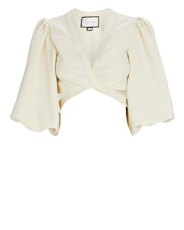 Alexis Rhona Puff Sleeve Wrap Crop Top | INTERMIX®