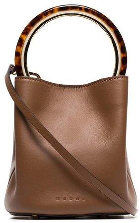 brown Pannier resin handle leather bucket bag