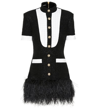 Feather-trimmed tweed minidress
