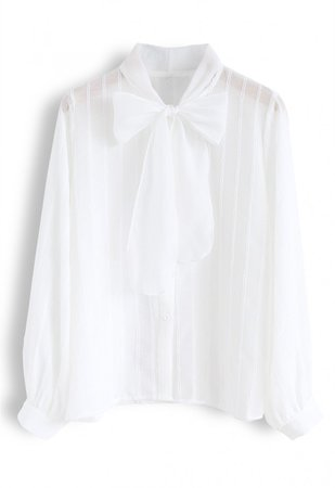 Parallel Mesh Bowknot Neck Sleeves Shirt in White - NEW ARRIVALS - Retro, Indie and Unique Fashion